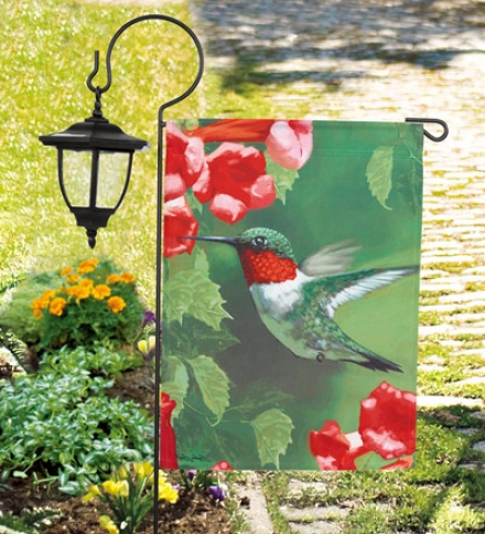 Screen Printed Fade And Weather-resistant Hummingbird Garden Flag