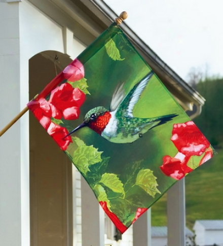 Screen Printed Fade And Weather-resistant Hummingbirrd House Flag