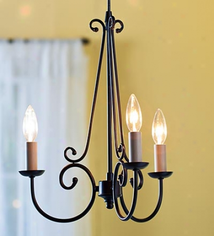 Screw-in Brohze Three-light Chandelier Pendant