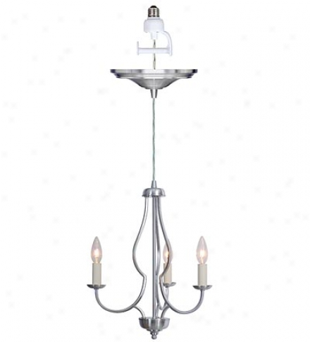Screw-in Brushed Nickel 3-light Lzrge Chandelier