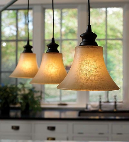 Screw-in Textured Linen Glass Shade Pendant Lighting