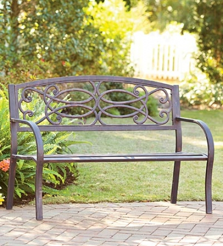 "Scrollwork Bench50-1/2""l X 20""d X 34""h"