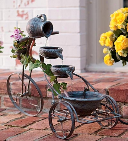 Self-contained Iron And Cerqmic Tricycle Fountain
