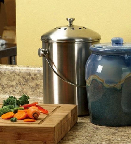 Set Of 2, 1.5-gallon Stainless Steel Compost Crock Filters