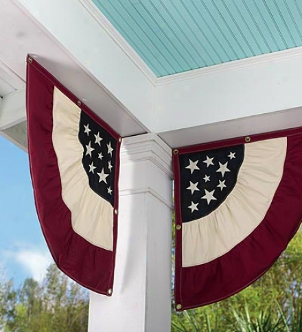 Set Of 2 Americana Embroidered Cotton Duck Half-buntingsbhy 2 Or More At $46.95 Each