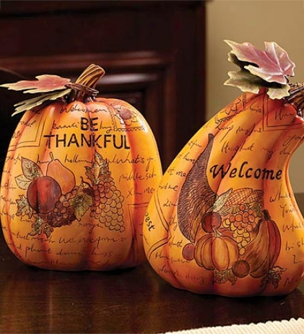 Set Of 2 Decorative Resin Pumpkins