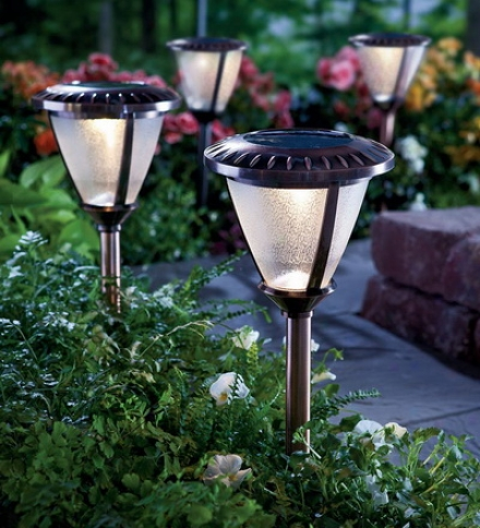 Set Of 2 Extra-bright, Heavy Duty Glass Solar Path Lights