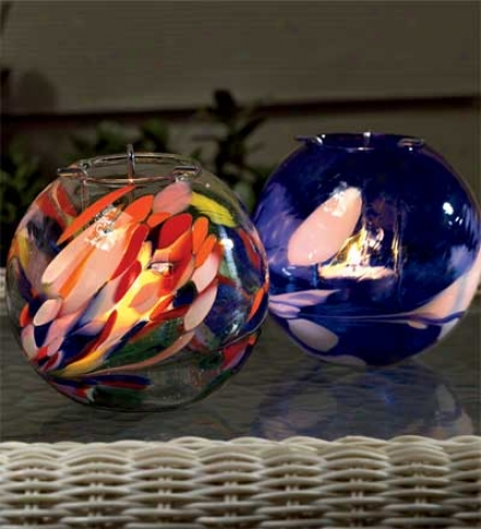 Set Of 2 Hand-blown Recycled Glass Tea Light Globes