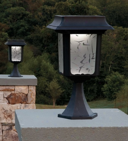 Set Of 2 Large Aluminum Solar Post Lights