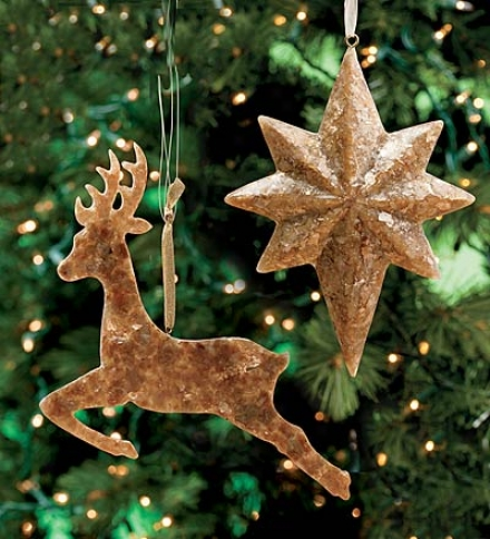 Set Of 2 Luminescent Resin Capiz Star And Reindeer Ornamennts
