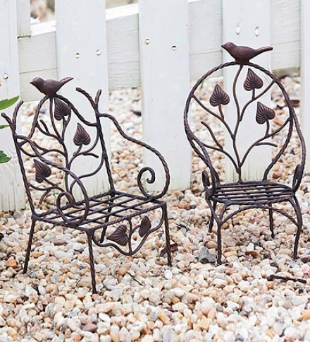 Set Of 2 Metal Chair Plant Stands