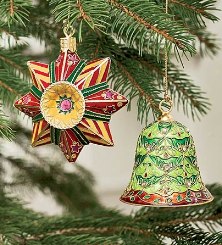 Set Of 2 Metal Cloisonn?? Bell & Star Ornaments