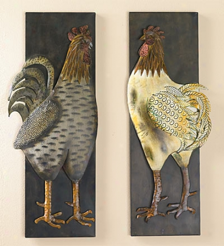 Concrete Of 2 Metal Rooster Wall Plaques