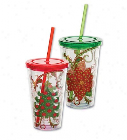 Set Of 2 Reusable Acrylic Insulated Tumblers With Lids And Straws