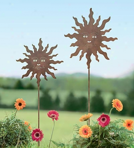 Set Of 2 Rusted-finish Metal Smiling Sun Garden Stakes