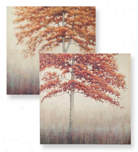 Set Of 2 Stretched Canvas Tree Wall Art Prints Ovet Wood Frames