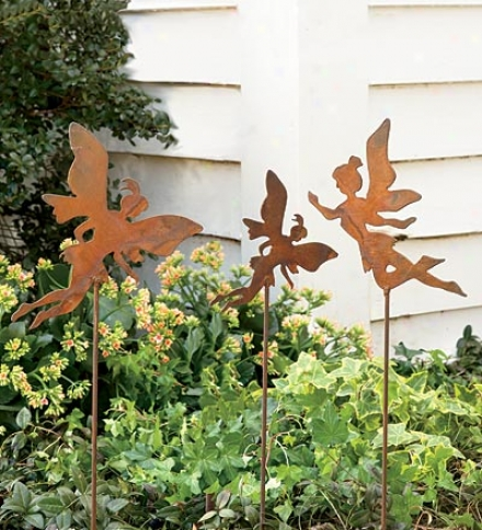 Set Of 3 Charming Rusty-weathered Looking Dancing Fairy Garden Stakes