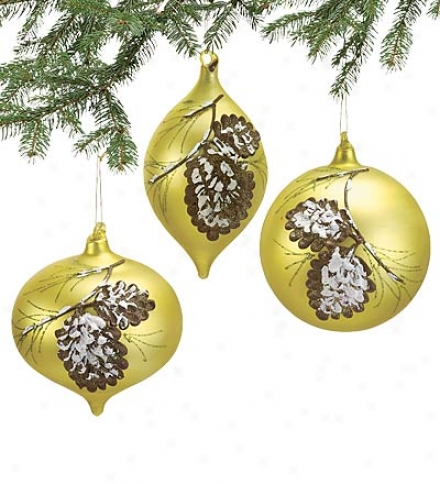 Set Of 3 Deluxe Delightful Glass Ornaments With Detailed Pinecine Design