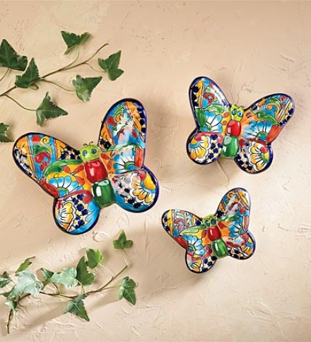 Set Of 3 Hand-crafted Painted And Glazed Ceramic Talavera Butterflies Wall Art