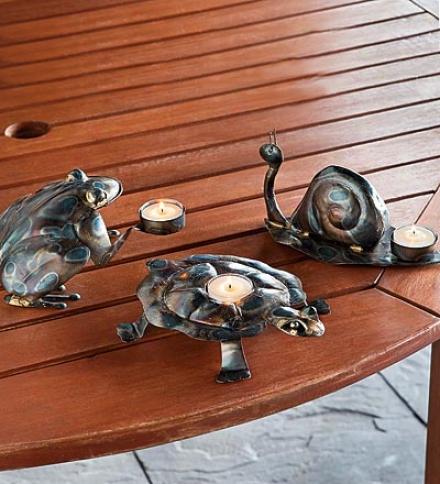 Set Of 3 Metal Frog, Turtle And Snail Tea Light Holders