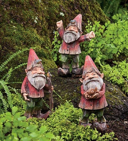 Set Of 3 Painted Woodland Gnomes
