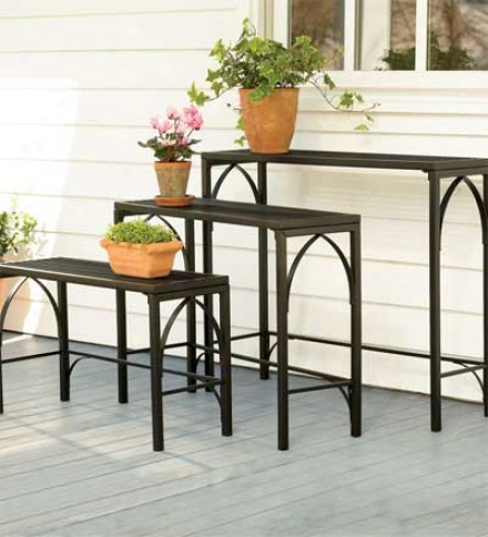 Set Of 3 Powder-coated Tubular Steel Nesting Plant Stand Tables