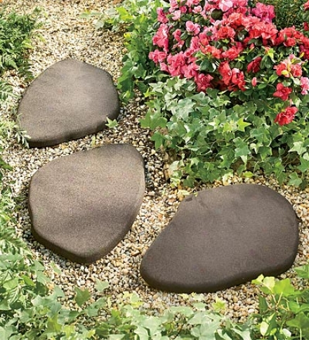 Set Of 3 Recycled Rubber Stepping Stones