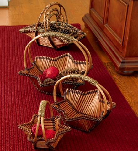 Set Of 3 Star And Rectangle Willow Nesting Baskets