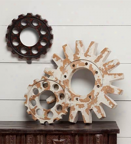Set Of 3 Vintage Sprocket Wall Décor