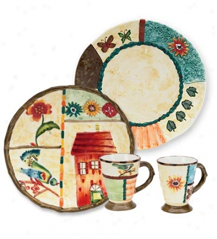 "Set Of 4 Ceramic Dinner Plates With Hand-painted Enthusiasm Of Home Design, 13-1/2"" Dia."
