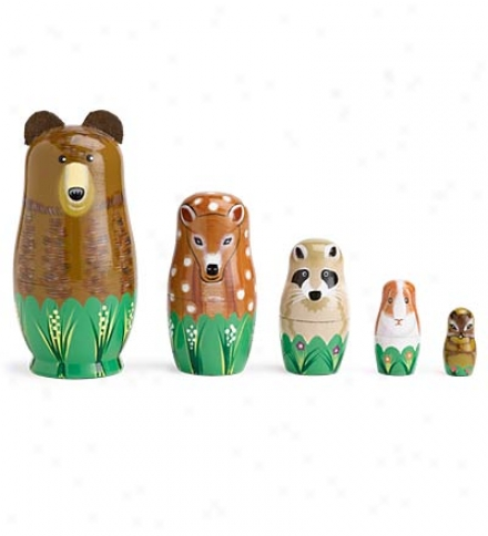 Immovable Of 5 Brightly Painted Wooden Nesting Woodland Animals