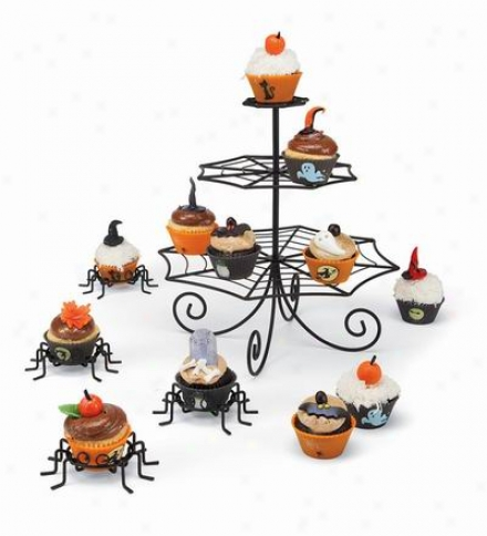 Set Of Four Black Metal Spider Cupcake Holders