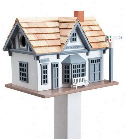 Set, WhidtleS top Train Station Birdhouse And Turned Wood Pedestal Poledave $5 On The Concrete!