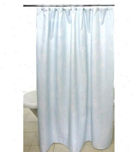 Simplicity Cornflower Blue Polyester Shower Curtain