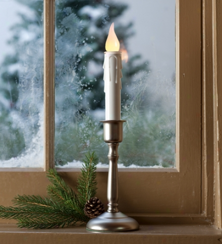 Single Cordless Window Candle With Yellow Flame In Brass, Pewterr And Bronze