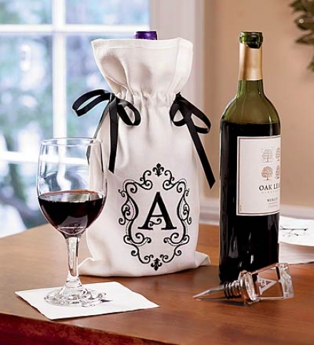 Single-letter Monogram White Polyester Wine Bag