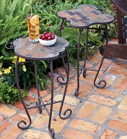 Slate Butterfly And Ladybug Exterior Accent Tables With Iron Basebiy 2 Or More At $27.95 Each