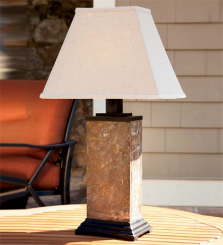 Slate Exterior Table Lamp With A1l-weather Shade