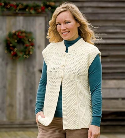 Sleeveless Merino Wool Hand-knit Cardigan With Traditional Aran Stitcying