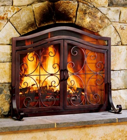 Small 2-door Finihed Tubular-steel Crest Fire Screen And Four-piece Tool Setsave $10 On The Set!