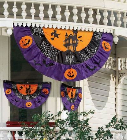 Small Appliqu??d Polyester Halloween Bunting