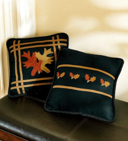 Small Felt Fall Leaves On Black Polyester Pillow