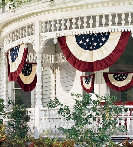 Small Half-round Cotton Duck Patriotic Vintage Bunting With Embroiderybuy 2 Or More At $19.95 Each