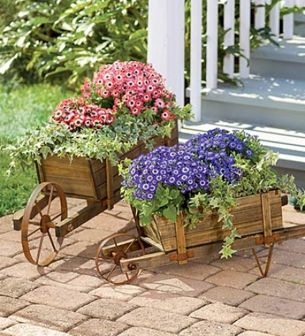 "Small Solid Wood Wheelbarrow Planter With Functional Wheel30-1/4""l X 13-1/2""w X 11""h"