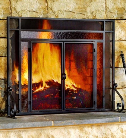 Small Two-door Tubular Steel Fire Screen With eTm0ered Glass Accents