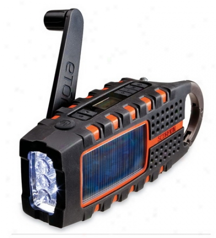 Solar And Cranm Powered Emergency Radio With Led Flashlight And Usb Charger