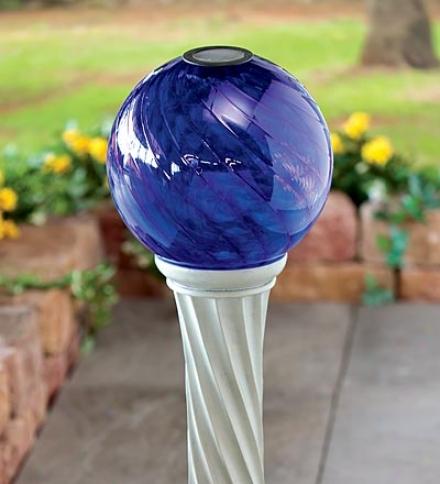 Solar Blue Glass Garden Gazing Ball