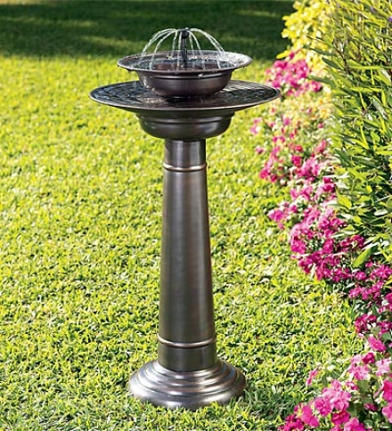 "Solar-powered Two-tier Stainless Steel Fountain Birdbath With Shower And Bubbling Fountain Heads17-3/4"" Dia. X 31-1/2""h"