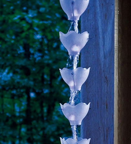 Solar Rain Chain With Floral Cups