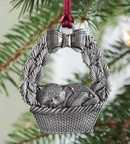 Solid Pewter Cat Ornament